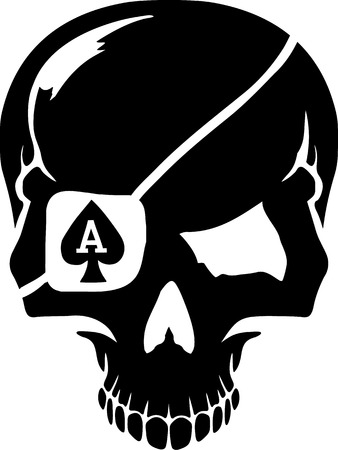 ace: Skull with poker playing cards suits ace Illustration