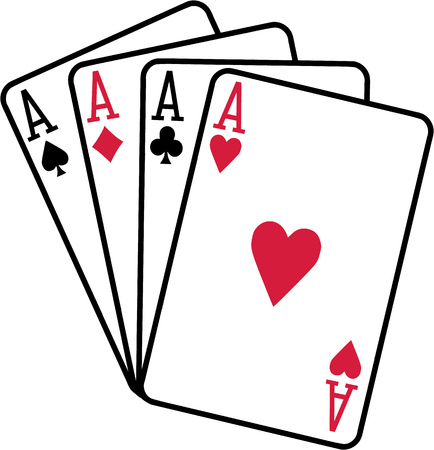 clubs diamonds: Four aces playing cards spades hearts diamonds clubs