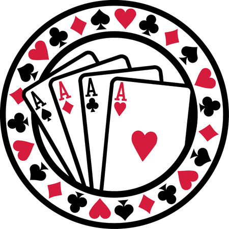 ace of spades: Poker badge with playing cards aces Illustration