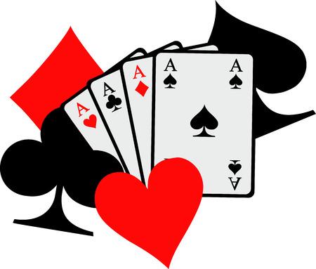 Cuatro ases jugando a las cartas con grandes iconos poker espadas corazones diamantes clubes Ilustración de vector