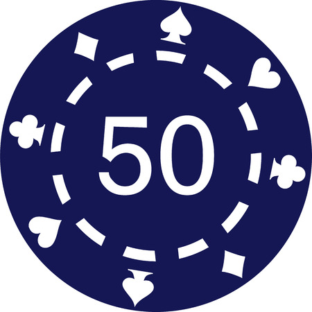 ace of diamonds: Blue poker chips with number 50