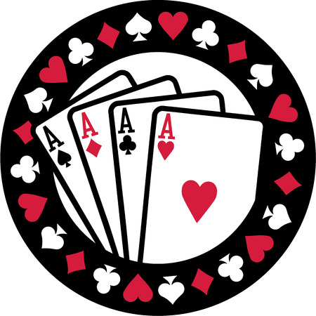 ace of diamonds: Poker emblem with four aces playing cards suits