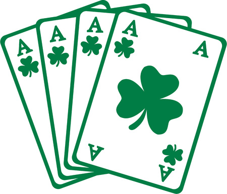 aces: Four aces playing cards for saint patricks day