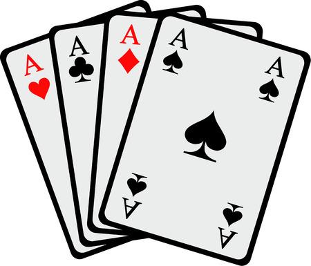 Vincere mano Quattro assi carte da gioco