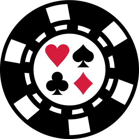gambling chip: Gambling chip with poker playing cards suits Illustration