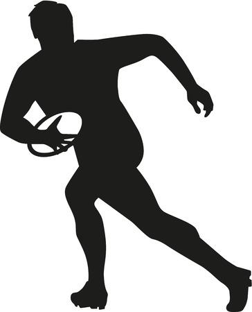 pelota rugby: Jugador del rugbi que corre con la bola