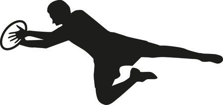 rugby player: Rugby player catching the ball Illustration