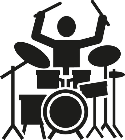 drum kit: Icon of a drummer with drum kit