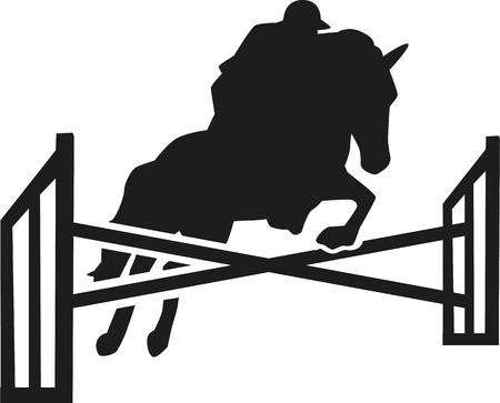 Paard te springen over obstakels met ruiter