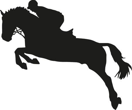 Salto ostacoli silhouette Vettoriali