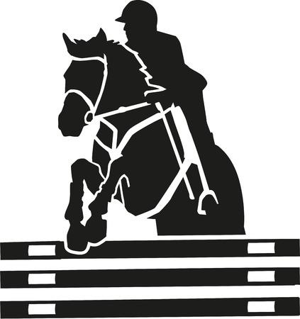 cavallo che salta: Salto ostacoli vettore con molti dettagli