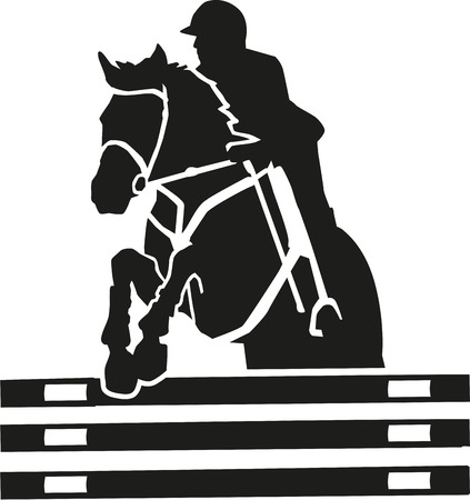 horse show: Show jumping vector with many details