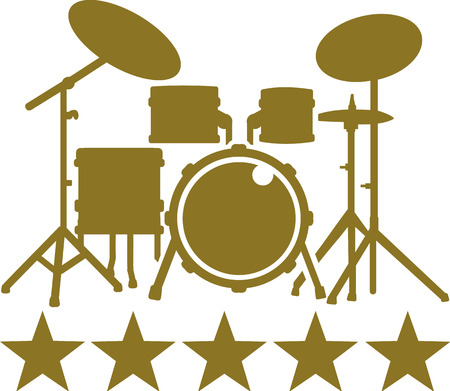 drum kit: Drum Kit with five golden stars