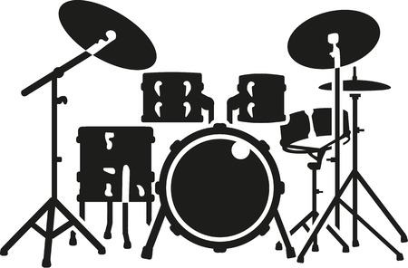 Gedetailleerde drumstel Stock Illustratie