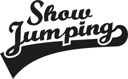 show jumping: Show jumping word retro Illustration