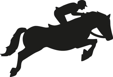 ciclista silueta: Mostrar caballo de salto con el jinete