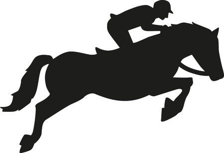Horses: Show jumping horse with rider Illustration