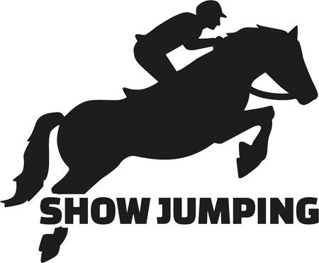 cavallo che salta: Mostra che saltava con cavallo silhouette Vettoriali