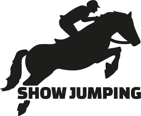 leaping: Show jumping with horse silhouette Illustration