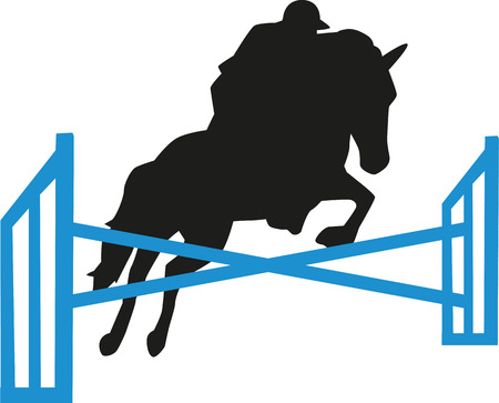 jump: Show jumping obstacles horse and rider Illustration