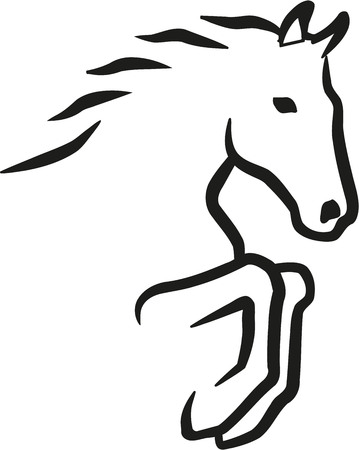 Jumping contorno cavallo Vettoriali