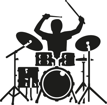 Drum kit with drummer in action
