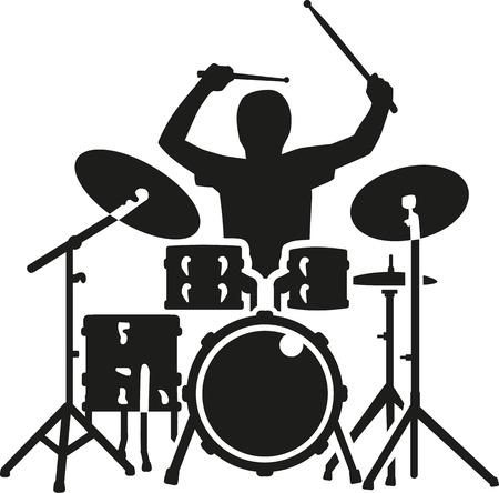 Drumstel met drummer in actie Stock Illustratie