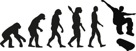Skateboard evolution Illustration