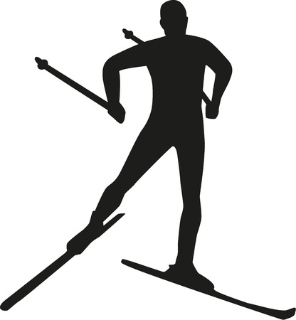 snow ski: Silhouette cross country skiing