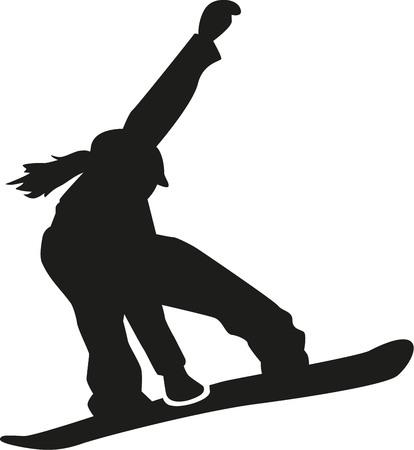 Female snowboarder jumping Illustration