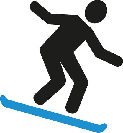 downhill: Snowboarding downhill pictogram