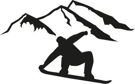 Snowboarder driving in front of hills Illustration