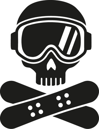 Snowboarding skull with hat and board Çizim