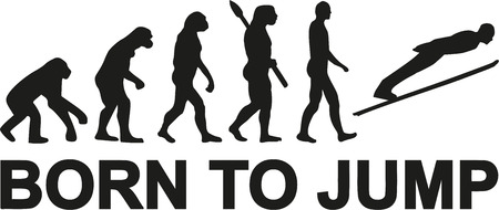 human evolution: Ski jumping born to jump evolution Illustration