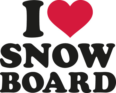 snowboard: I heart snowboard Illustration