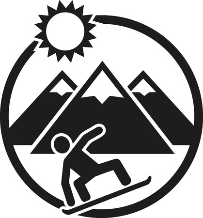 boarder: Snowboarding emblem with boarder hills and sun