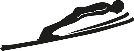 Salto con gli sci silhouette Archivio Fotografico - 46784568