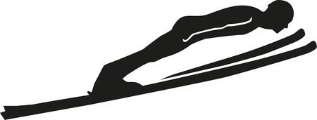 Ski jumping silhouette Çizim