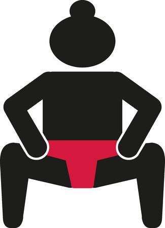 sumo: Sumo wrestling pictogram Illustration