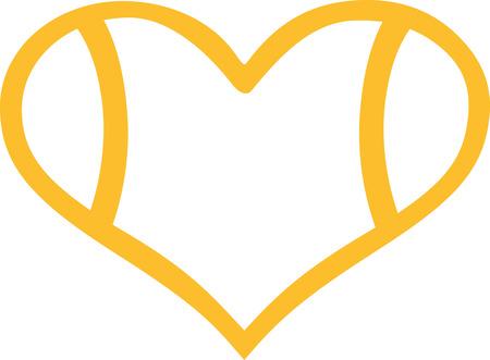 heart outline: Tennis ball heart outline