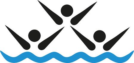 nataci�n sincronizada: Sincronizado icono de equipo de nataci�n Vectores