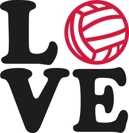 Love word with water polo ball Illustration