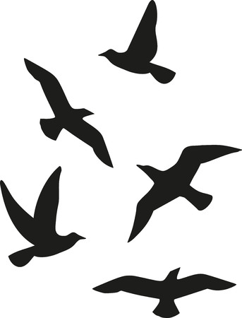 Flock of five birds Ilustrace