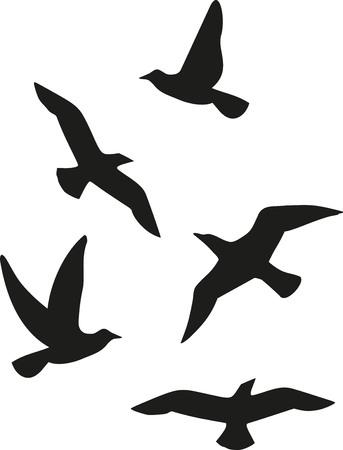 Flock of five birds Stock Illustratie