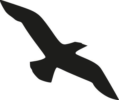 Flying bird silhouette Illustration