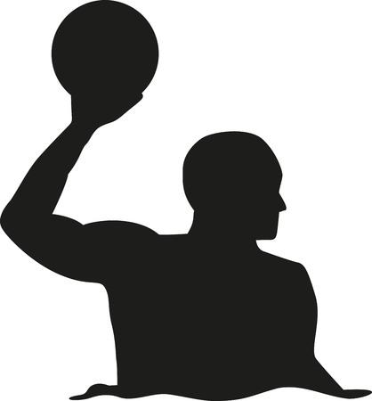 水球選手シルエット  イラスト・ベクター素材