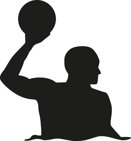 pool water: Water polo player silhouette Illustration