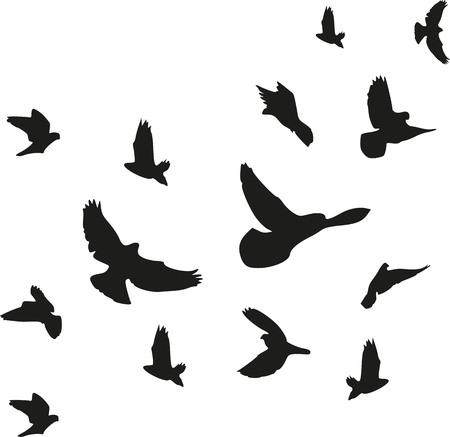 Achtergrond van vliegende vogels kudde Stock Illustratie