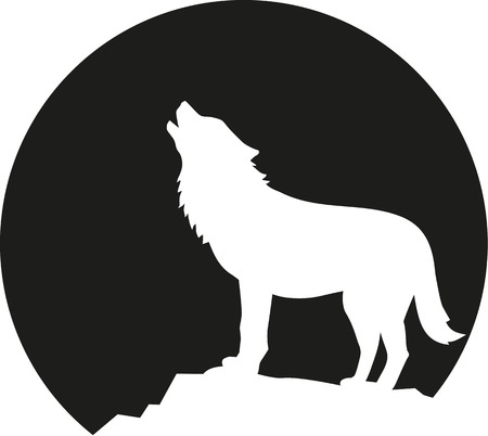 werewolf: Howling wolf in front of the moon