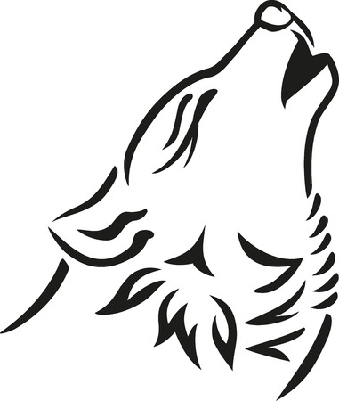 Wolf head howling Illustration